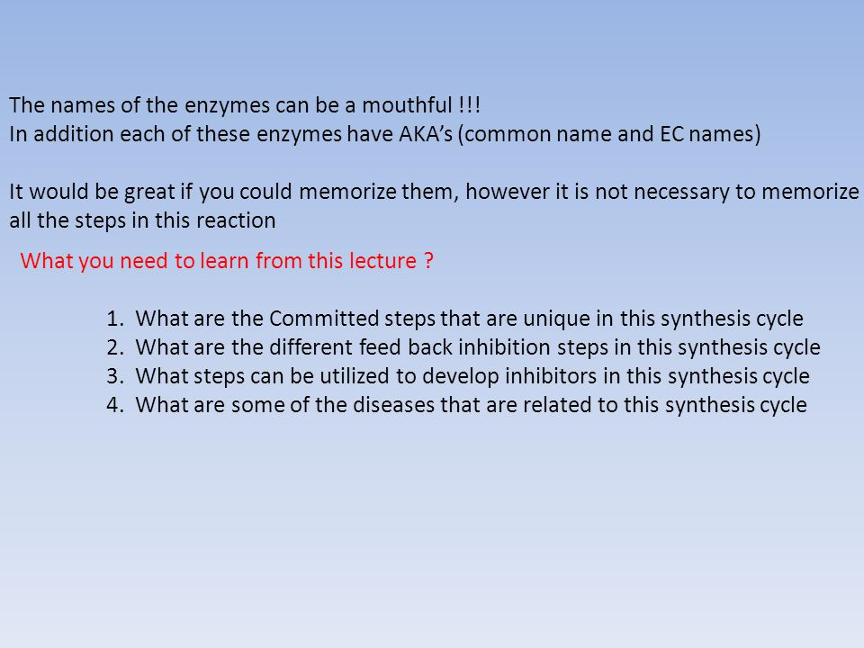 The names of the enzymes can be a mouthful !!.