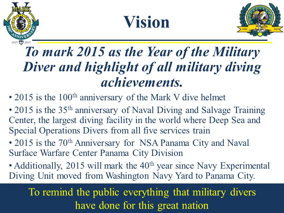 To mark 2015 as the Year of the Military Diver and highlight of all military diving achievements.