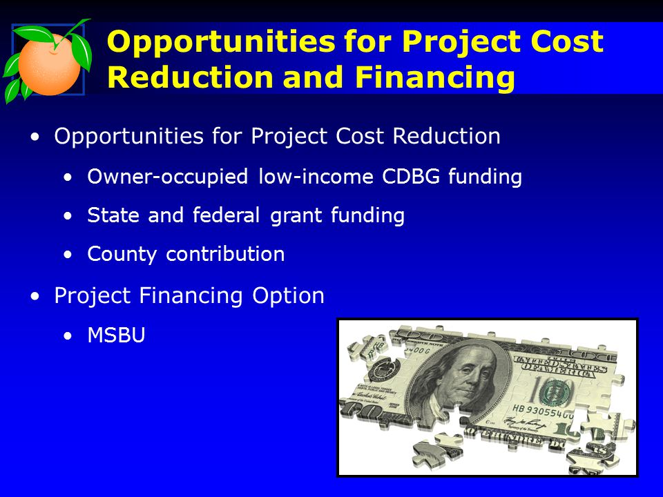 Opportunities for Project Cost Reduction and Financing Opportunities for Project Cost Reduction Owner-occupied low-income CDBG funding State and federal grant funding County contribution Project Financing Option MSBU