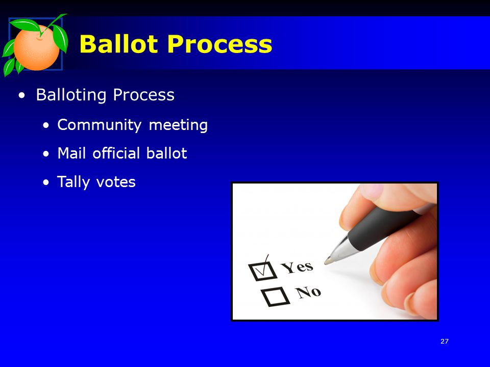 Ballot Process Balloting Process Community meeting Mail official ballot Tally votes 27