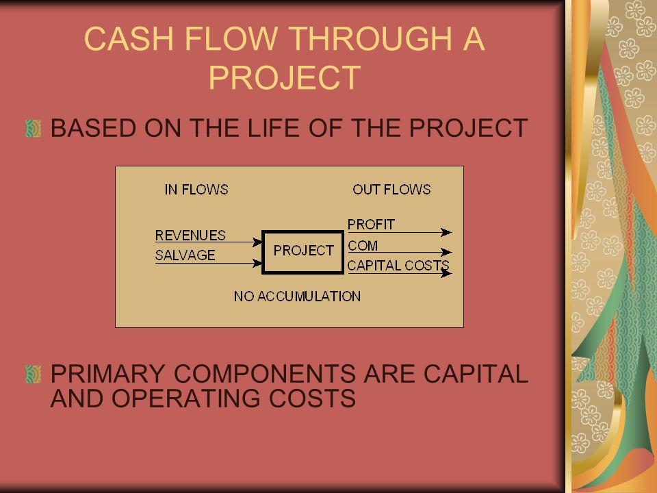 CASH FLOW THROUGH A PROJECT BASED ON THE LIFE OF THE PROJECT PRIMARY COMPONENTS ARE CAPITAL AND OPERATING COSTS