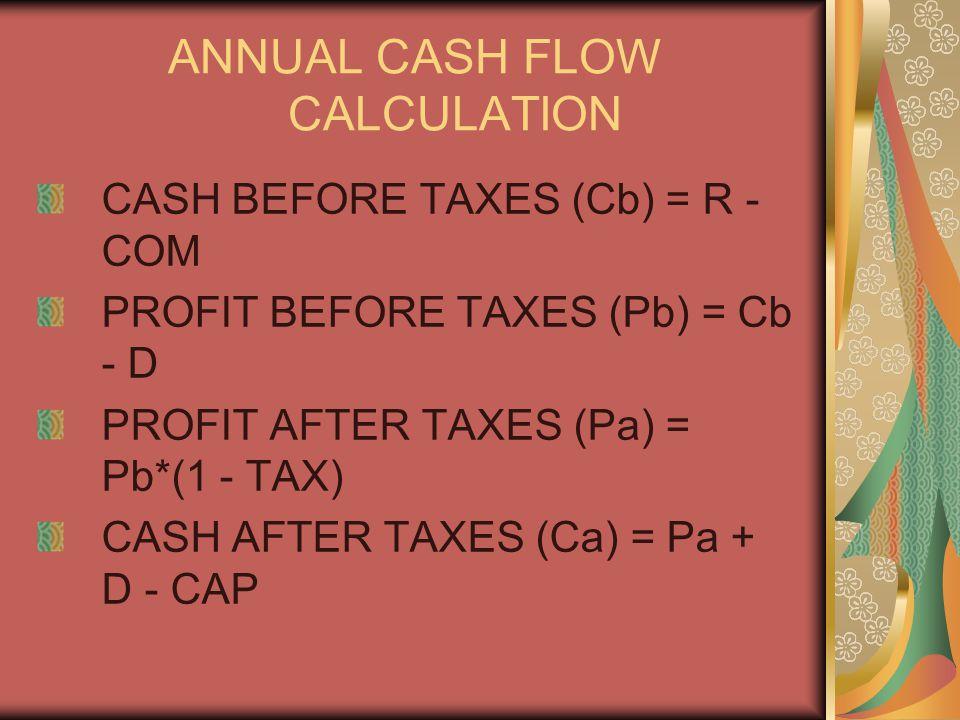 ANNUAL CASH FLOW CALCULATION CASH BEFORE TAXES (Cb) = R - COM PROFIT BEFORE TAXES (Pb) = Cb - D PROFIT AFTER TAXES (Pa) = Pb*(1 - TAX) CASH AFTER TAXES (Ca) = Pa + D - CAP