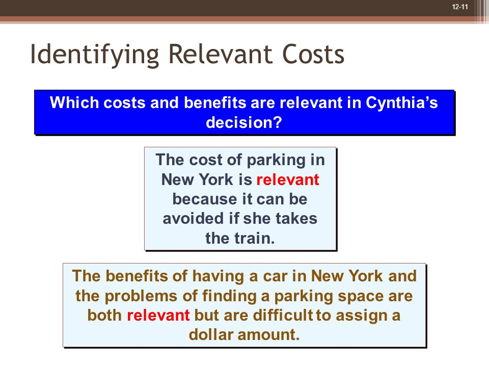 12-11 Identifying Relevant Costs The cost of parking in New York is relevant because it can be avoided if she takes the train.