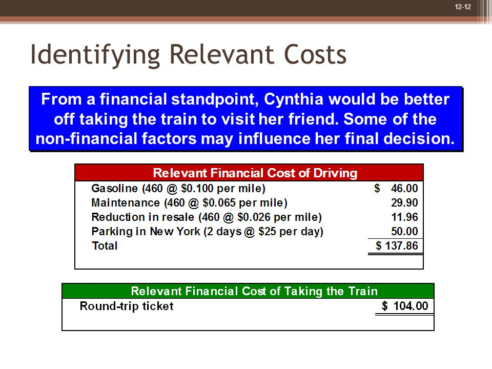 12-12 Identifying Relevant Costs From a financial standpoint, Cynthia would be better off taking the train to visit her friend.