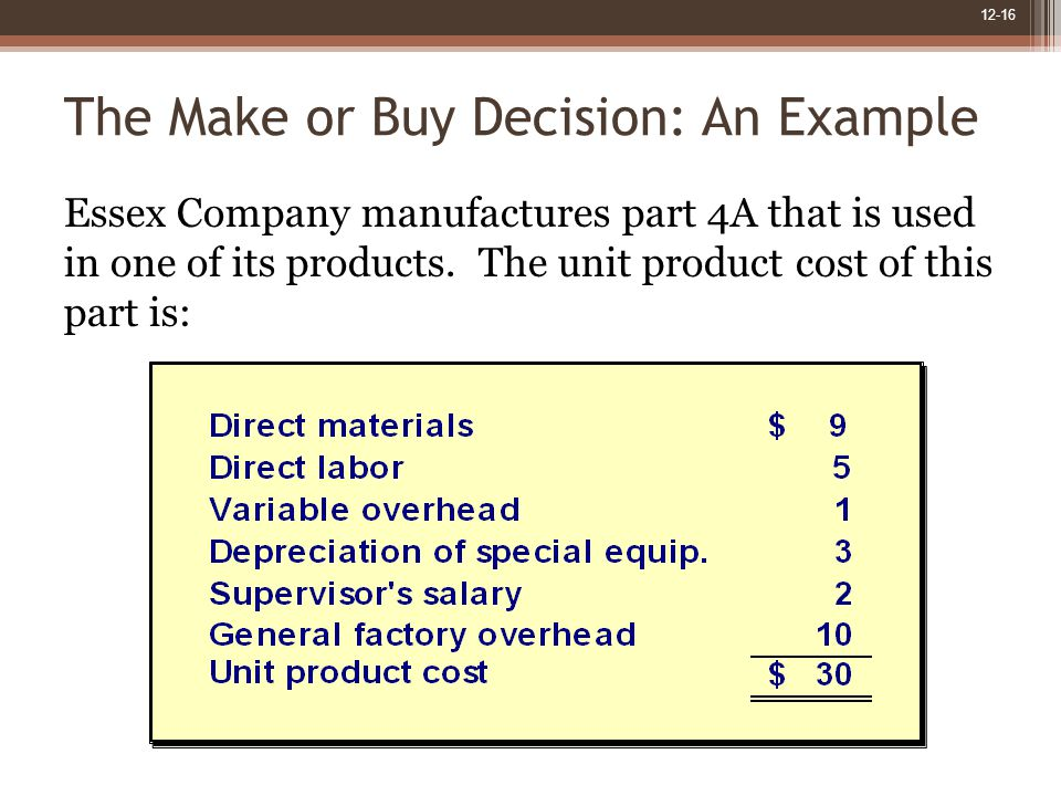 12-16 The Make or Buy Decision: An Example Essex Company manufactures part 4A that is used in one of its products.
