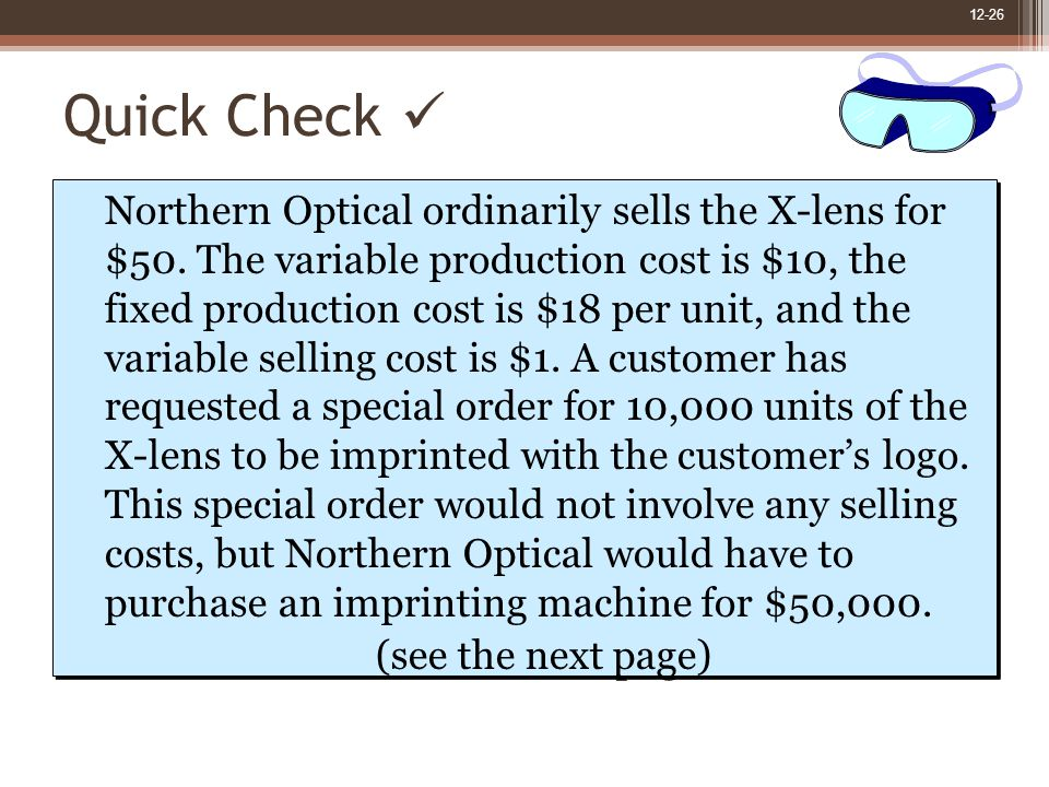 12-26 Quick Check Northern Optical ordinarily sells the X-lens for $50.