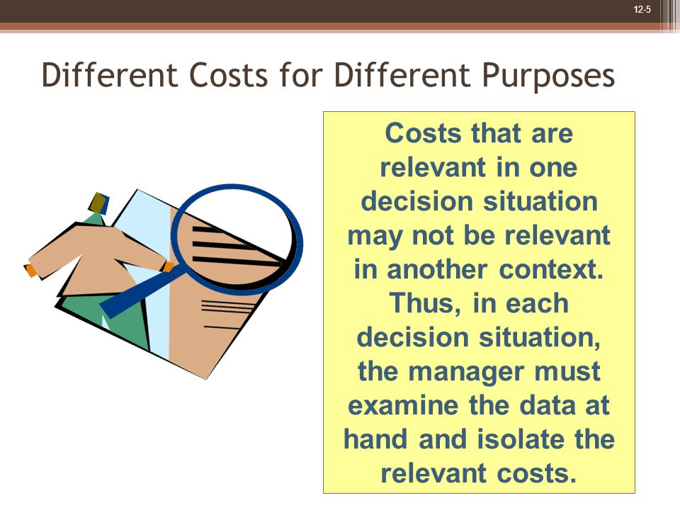 12-5 Different Costs for Different Purposes Costs that are relevant in one decision situation may not be relevant in another context.