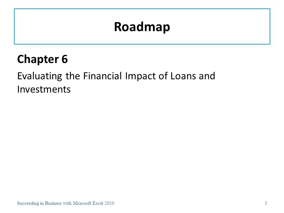 Roadmap Chapter 6 Evaluating the Financial Impact of Loans and Investments Succeeding in Business with Microsoft Excel 20103