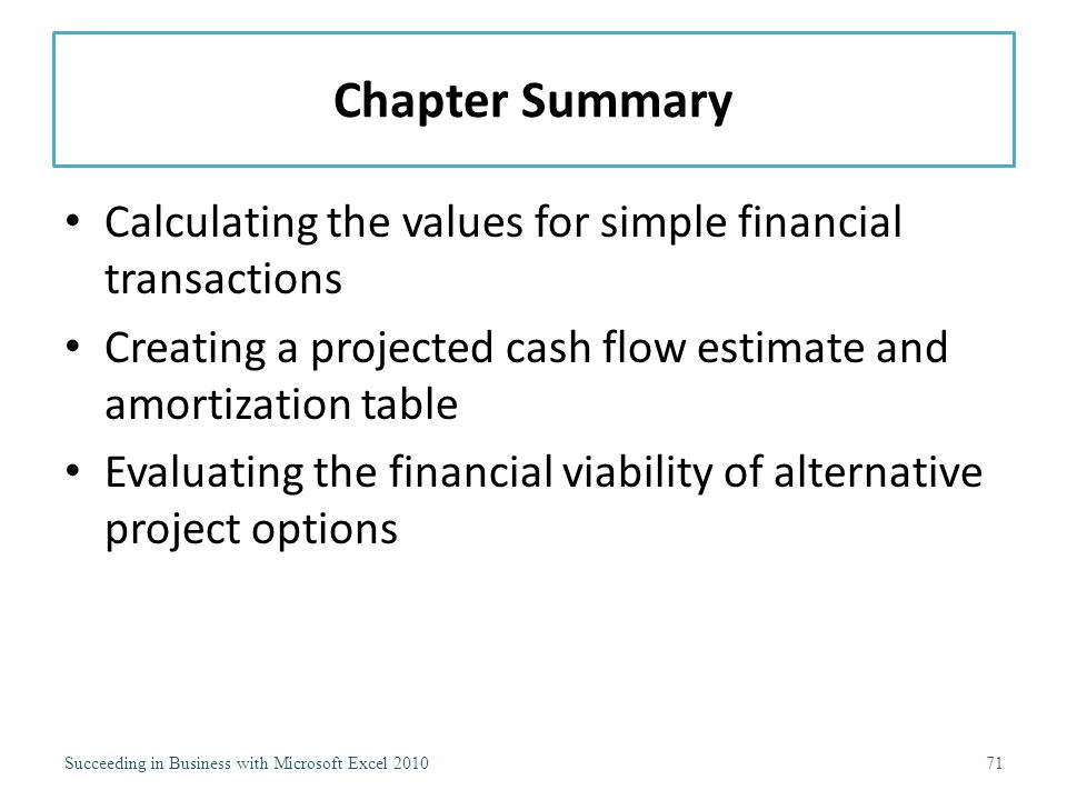 Chapter Summary Calculating the values for simple financial transactions Creating a projected cash flow estimate and amortization table Evaluating the financial viability of alternative project options Succeeding in Business with Microsoft Excel 201071