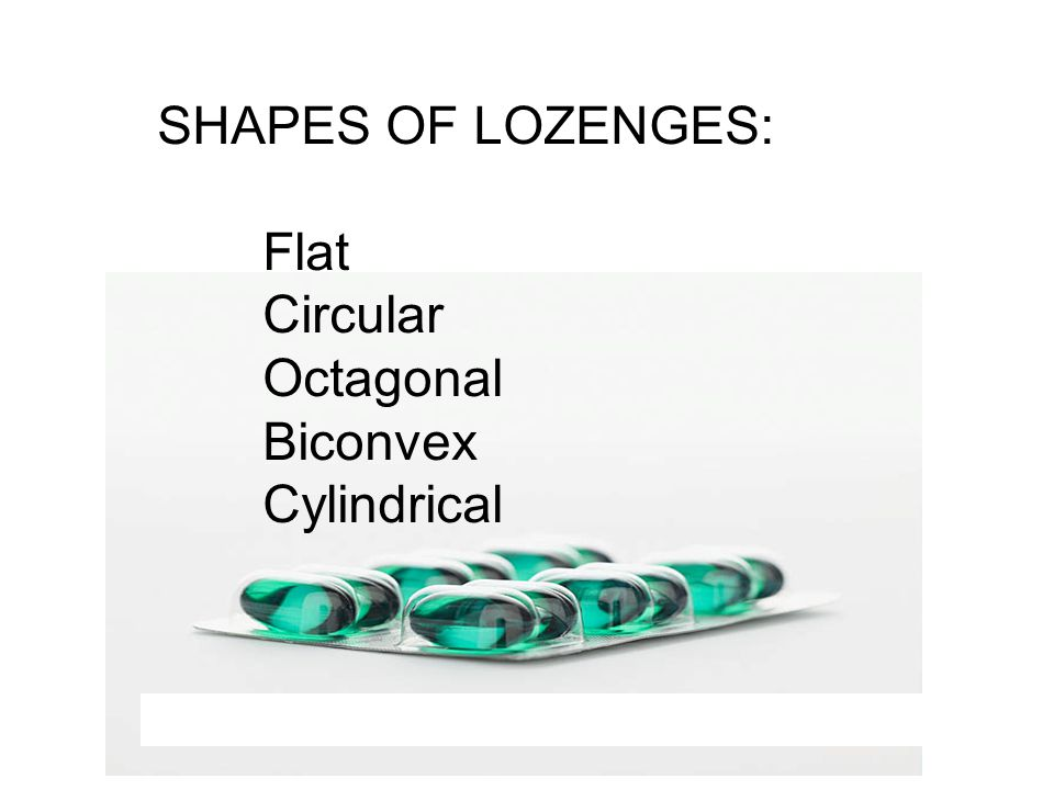 SHAPES OF LOZENGES: Flat Circular Octagonal Biconvex Cylindrical A