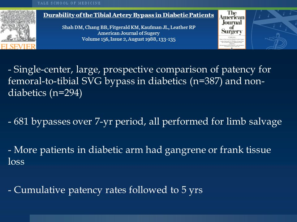 Y A L E S C H O O L O F M E D I C I N E Durability of the Tibial Artery Bypass in Diabetic Patients Shah DM, Chang BB, Fitgerald KM, Kaufman JL, Leather RP American Journal of Sugery Volume 156, Issue 2, August 1988, 133-135 - Single-center, large, prospective comparison of patency for femoral-to-tibial SVG bypass in diabetics (n=387) and non- diabetics (n=294) - 681 bypasses over 7-yr period, all performed for limb salvage - More patients in diabetic arm had gangrene or frank tissue loss - Cumulative patency rates followed to 5 yrs