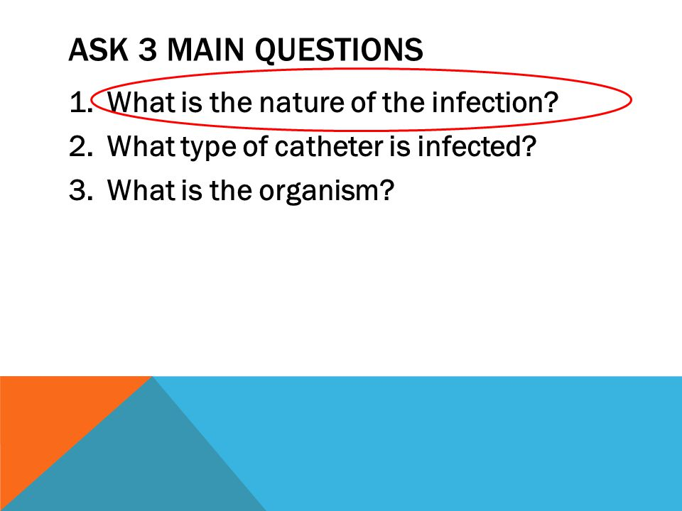 ASK 3 MAIN QUESTIONS 1.What is the nature of the infection.