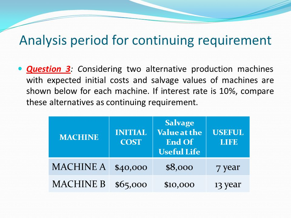 Question 3: Considering two alternative production machines with expected initial costs and salvage values of machines are shown below for each machin