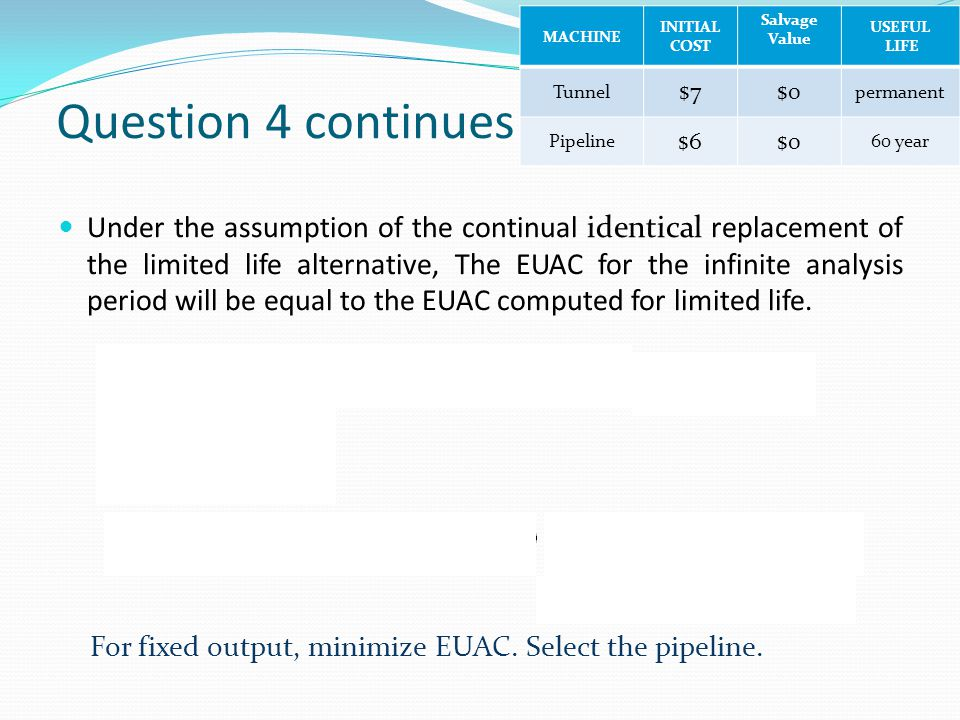 Question 4 continues Under the assumption of the continual identical replacement of the limited life alternative, The EUAC for the infinite analysis p