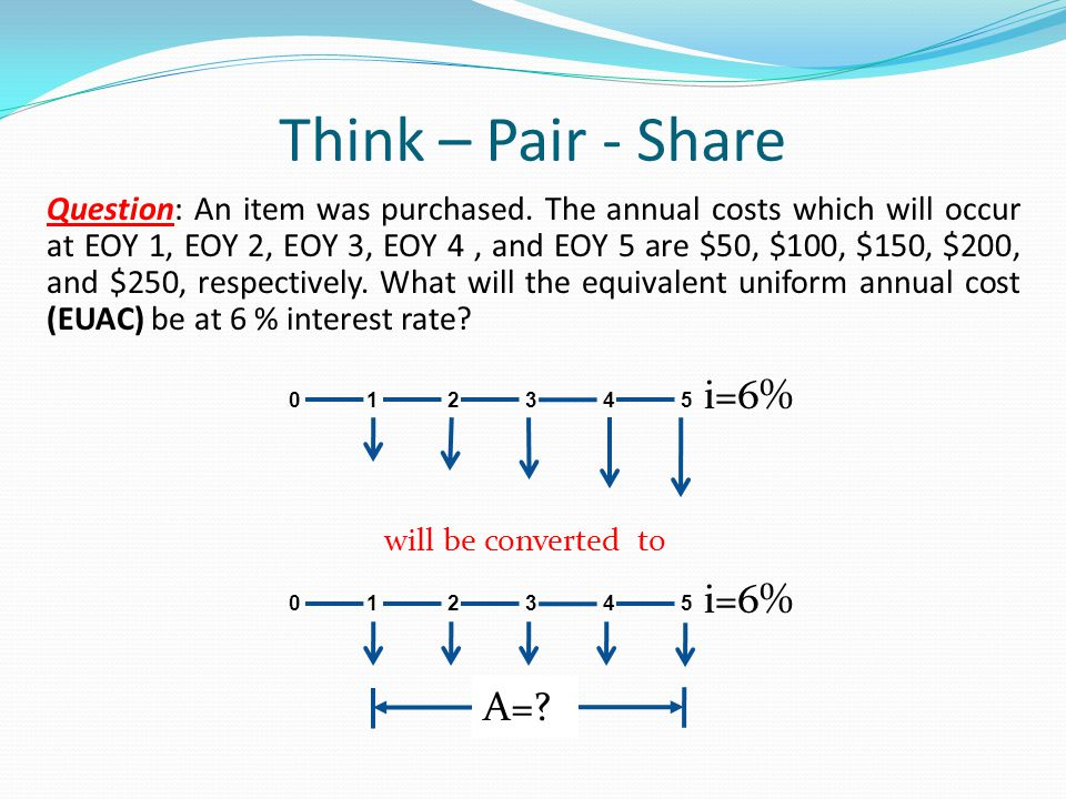 Think – Pair - Share Question: An item was purchased. The annual costs which will occur at EOY 1, EOY 2, EOY 3, EOY 4, and EOY 5 are $50, $100, $150,