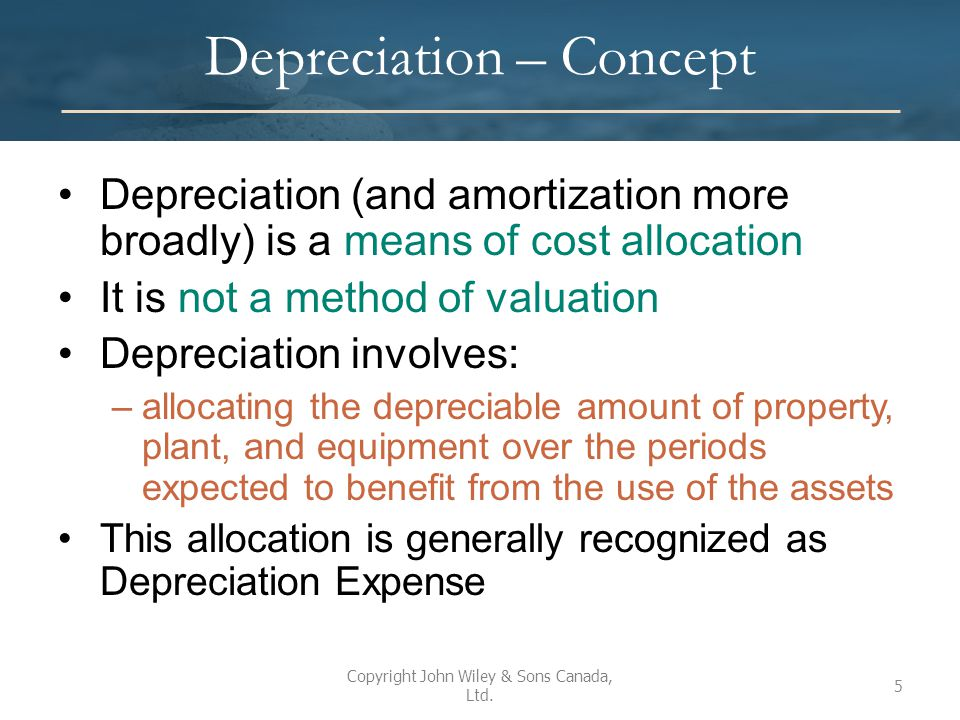 IFRS and ASPE ASPE and IFRS are consistent in many areas of accounting for depreciation and disposition Most significant difference between the two standards relates to measurement of impairment losses There are no major changes expected in this area Copyright John Wiley & Sons Canada, Ltd.