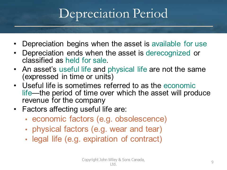 Choice of Depreciation Method Depreciation method determines the systematic allocation of the depreciable amount over the asset's useful life Depreciation should reflect the pattern of benefits expected from the use of the asset Additional considerations for choosing a particular depreciation method include simplicity, cost, as well as perceived economic consequences Depreciation method affects: – The balance sheet – The income statement – The ratios (e.g.