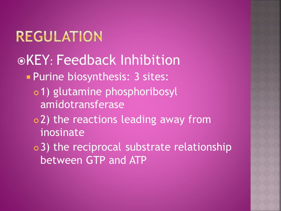  KEY : Feedback Inhibition  Purine biosynthesis: 3 sites: 1) glutamine phosphoribosyl amidotransferase 2) the reactions leading away from inosinate 3) the reciprocal substrate relationship between GTP and ATP