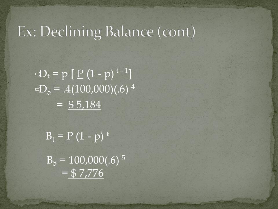  D t = p [ P (1 - p) t - 1 ]  D 5 =.4(100,000)(.6) 4 = $ 5,184 B t = P (1 - p) t B 5 = 100,000(.6) 5 = $ 7,776