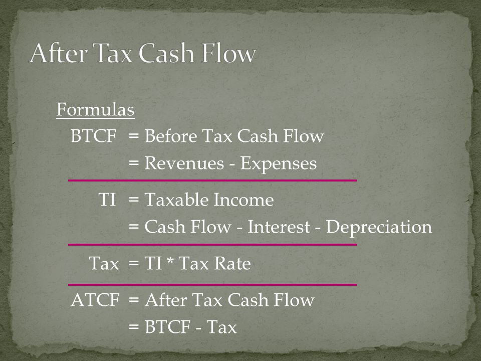 Formulas BTCF = Before Tax Cash Flow = Revenues - Expenses TI = Taxable Income = Cash Flow - Interest - Depreciation Tax = TI * Tax Rate ATCF = After