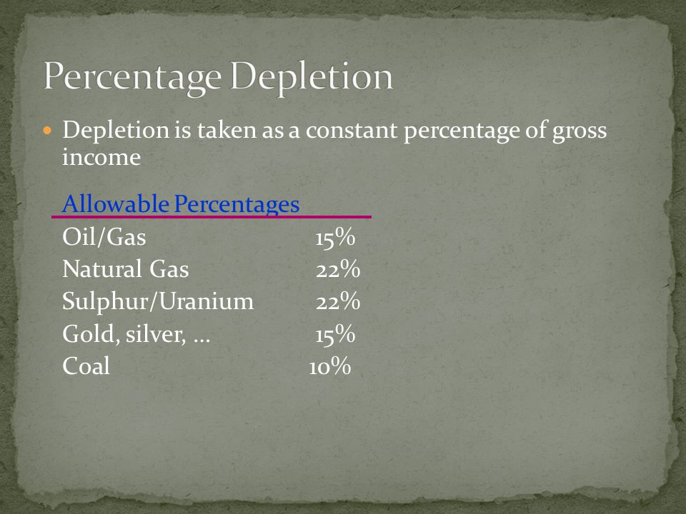 Depletion is taken as a constant percentage of gross income Allowable Percentages Oil/Gas15% Natural Gas22% Sulphur/Uranium22% Gold, silver, …15% Coal