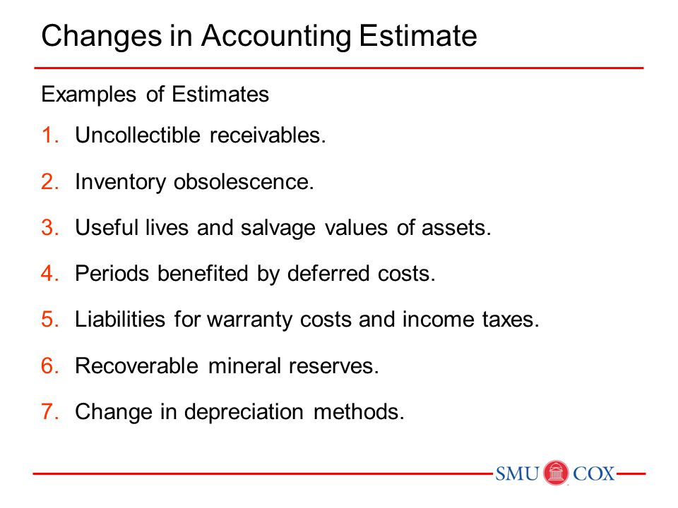 Changes in Accounting Estimate Examples of Estimates 1.Uncollectible receivables.