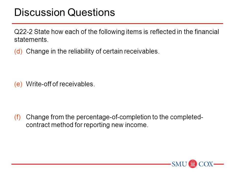 Discussion Questions Q22-2 State how each of the following items is reflected in the financial statements. (d)Change in the reliability of certain rec