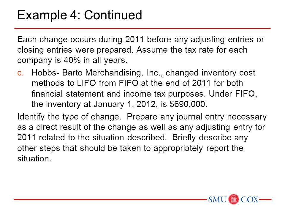 Example 4: Continued Each change occurs during 2011 before any adjusting entries or closing entries were prepared.