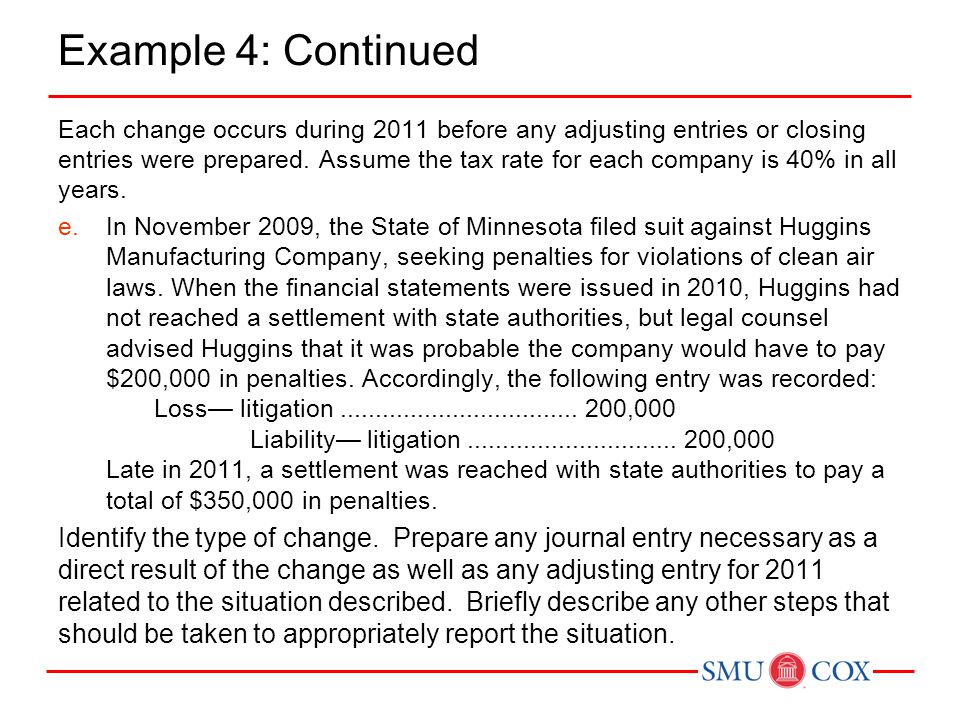 Example 4: Continued Each change occurs during 2011 before any adjusting entries or closing entries were prepared. Assume the tax rate for each compan