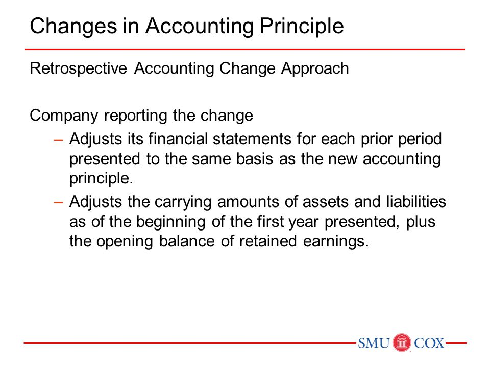 Changes in Accounting Principle Retrospective Accounting Change Approach Company reporting the change –Adjusts its financial statements for each prior