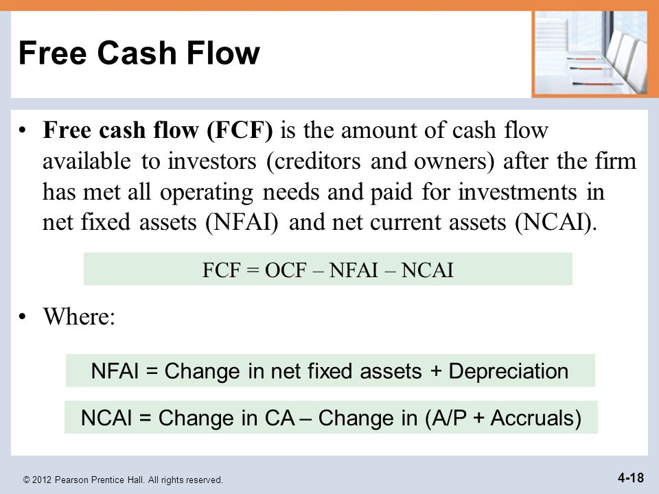 © 2012 Pearson Prentice Hall. All rights reserved. 4-18 Free Cash Flow Free cash flow (FCF) is the amount of cash flow available to investors (credito