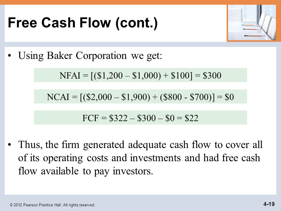 © 2012 Pearson Prentice Hall. All rights reserved. 4-19 Free Cash Flow (cont.) Using Baker Corporation we get: Thus, the firm generated adequate cash