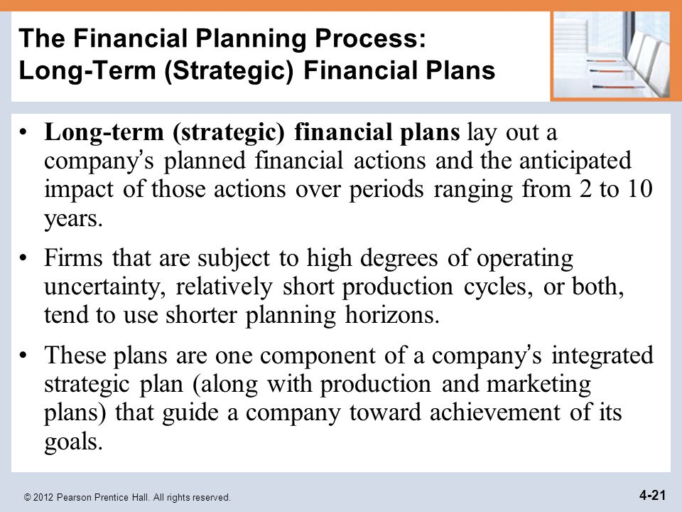 © 2012 Pearson Prentice Hall. All rights reserved. 4-21 The Financial Planning Process: Long-Term (Strategic) Financial Plans Long-term (strategic) fi