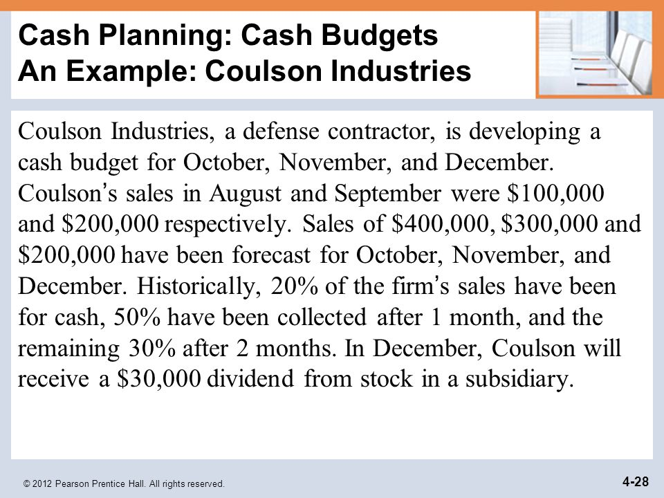 © 2012 Pearson Prentice Hall. All rights reserved. 4-28 Cash Planning: Cash Budgets An Example: Coulson Industries Coulson Industries, a defense contr