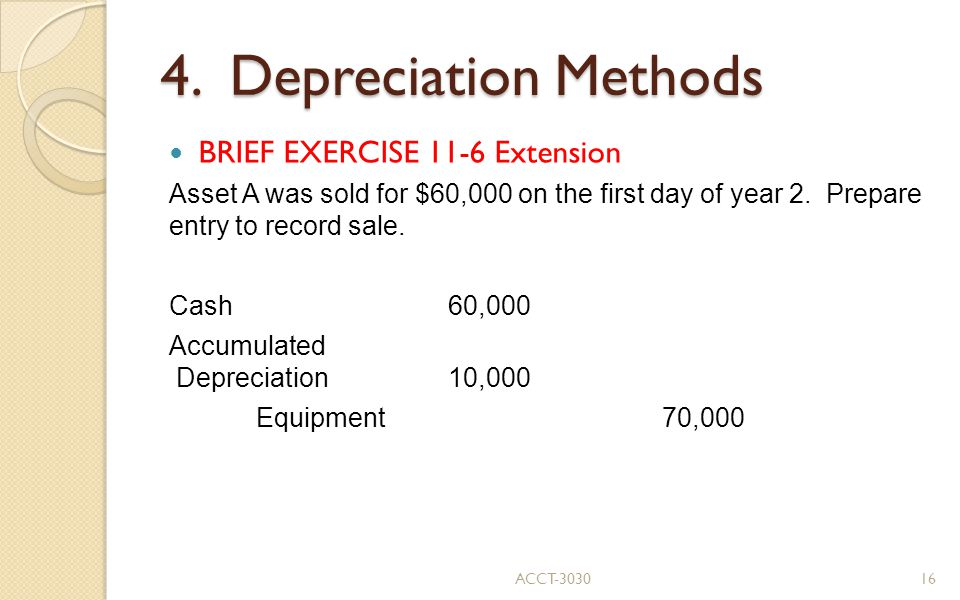 4. Depreciation Methods BRIEF EXERCISE 11-6 Extension Asset A was sold for $60,000 on the first day of year 2. Prepare entry to record sale. Cash60,00