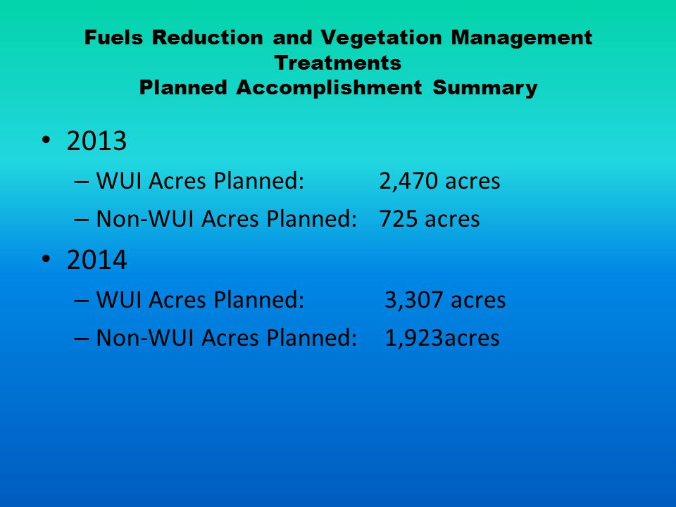 Fuels Reduction and Vegetation Management Treatments Planned Accomplishment Summary 2013 – WUI Acres Planned: 2,470 acres – Non-WUI Acres Planned: 725 acres 2014 – WUI Acres Planned: 3,307 acres – Non-WUI Acres Planned: 1,923acres