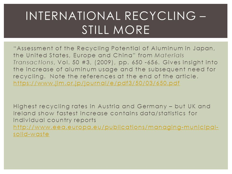 Assessment of the Recycling Potential of Aluminum in Japan, the United States, Europe and China from Materials Transactions, Vol.