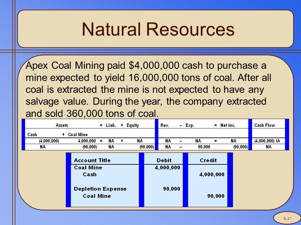 Natural Resources Apex Coal Mining paid $4,000,000 cash to purchase a mine expected to yield 16,000,000 tons of coal.