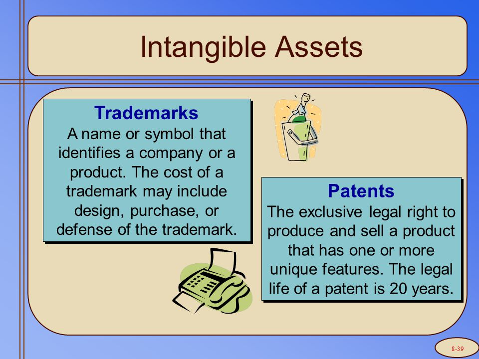 Intangible Assets Trademarks A name or symbol that identifies a company or a product.