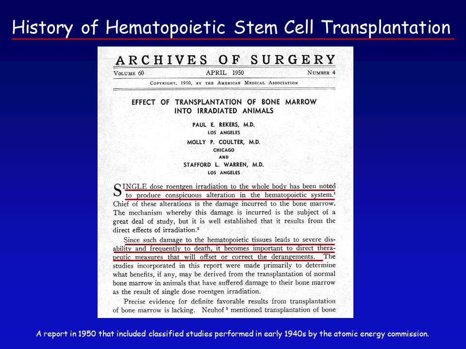 History of Hematopoietic Stem Cell Transplantation A report in 1950 that included classified studies performed in early 1940s by the atomic energy commission.