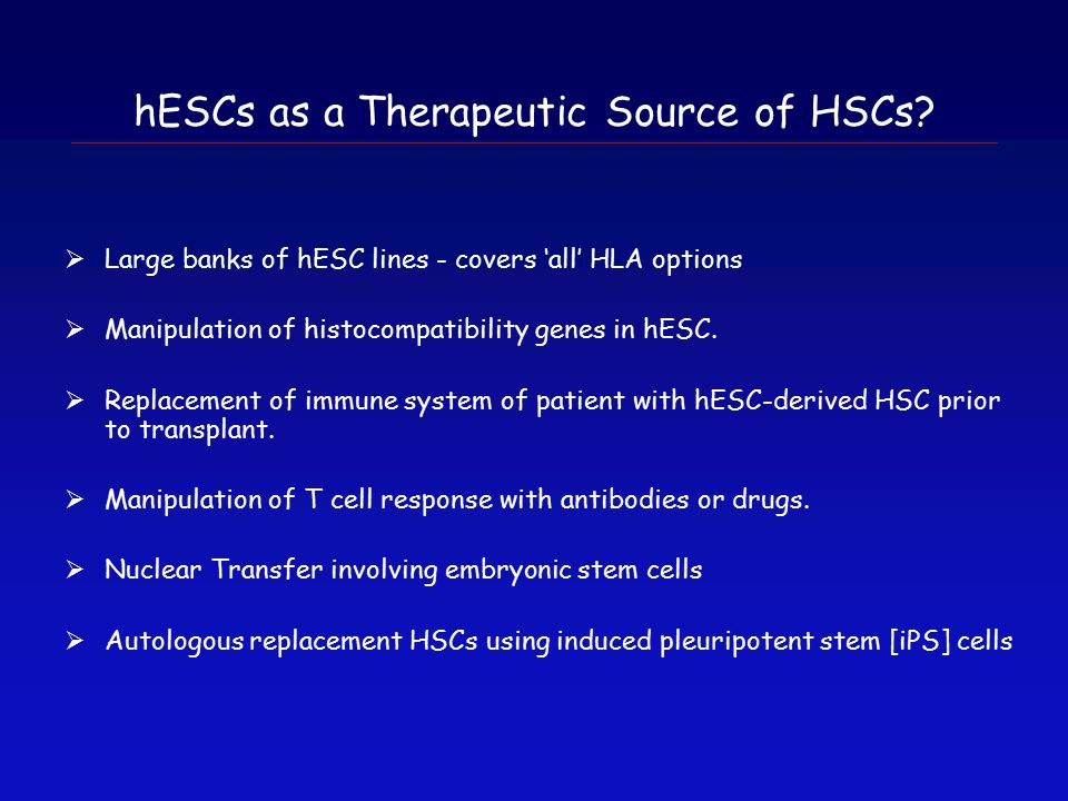 hESCs as a Therapeutic Source of HSCs.