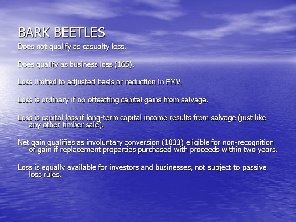 BARK BEETLES Does not qualify as casualty loss. Does qualify as business loss (165).