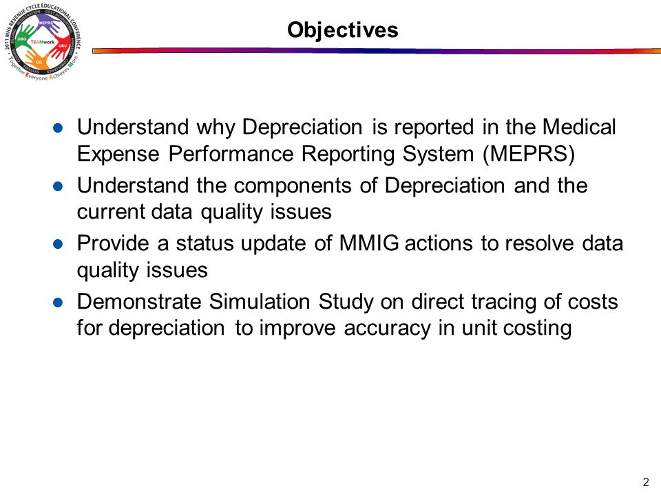 Objectives Understand why Depreciation is reported in the Medical Expense Performance Reporting System (MEPRS) Understand the components of Depreciati