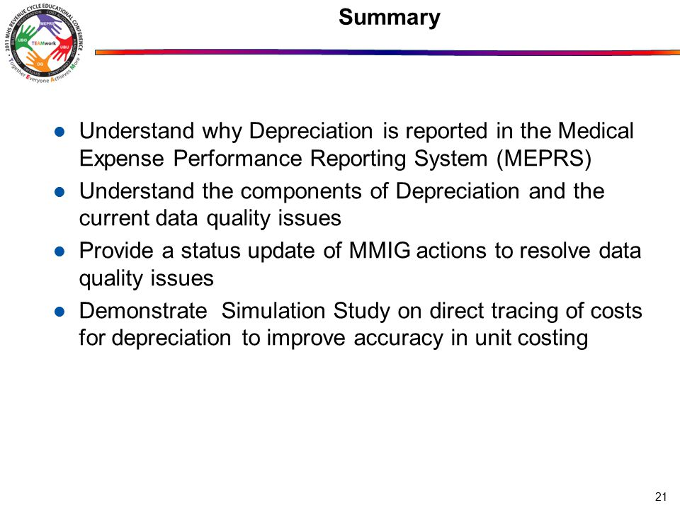 Summary Understand why Depreciation is reported in the Medical Expense Performance Reporting System (MEPRS) Understand the components of Depreciation