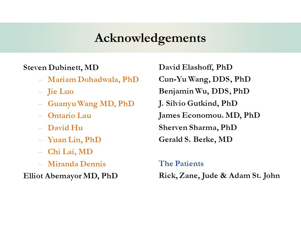 Acknowledgements Steven Dubinett, MD –Mariam Dohadwala, PhD –Jie Luo –Guanyu Wang MD, PhD –Ontario Lau –David Hu –Yuan Lin, PhD –Chi Lai, MD –Miranda Dennis Elliot Abemayor MD, PhD David Elashoff, PhD Cun-Yu Wang, DDS, PhD Benjamin Wu, DDS, PhD J.