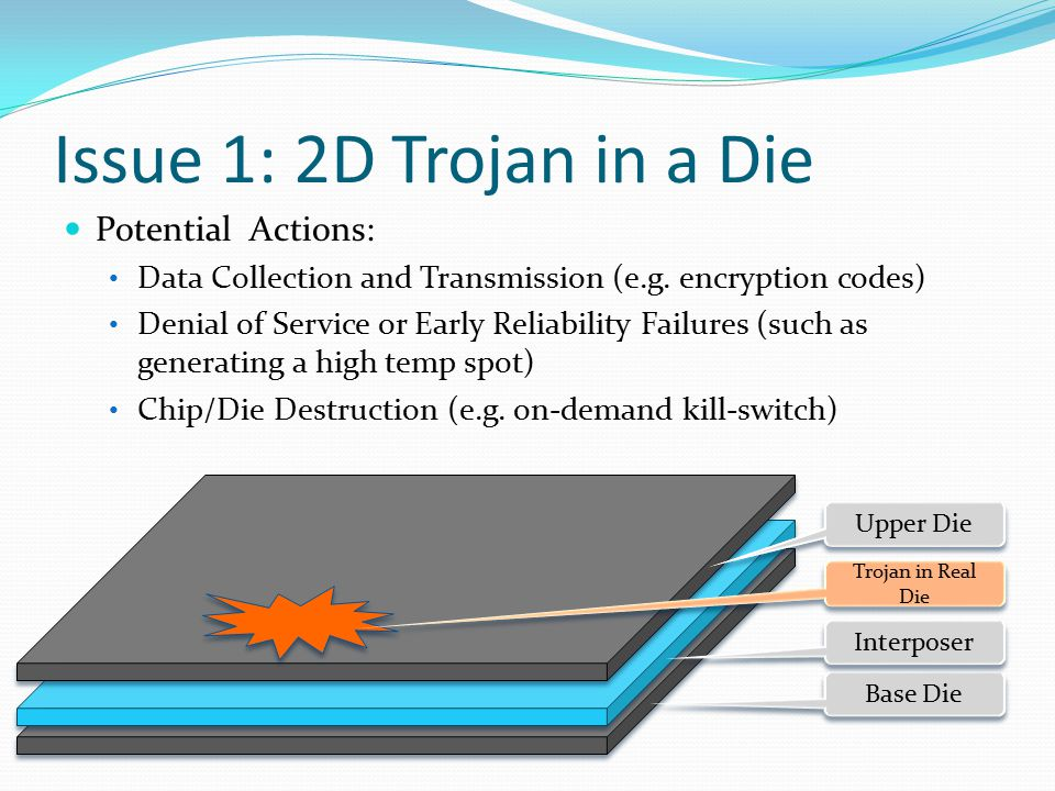 Issue 1: 2D Trojan in a Die Potential Actions: Data Collection and Transmission (e.g.