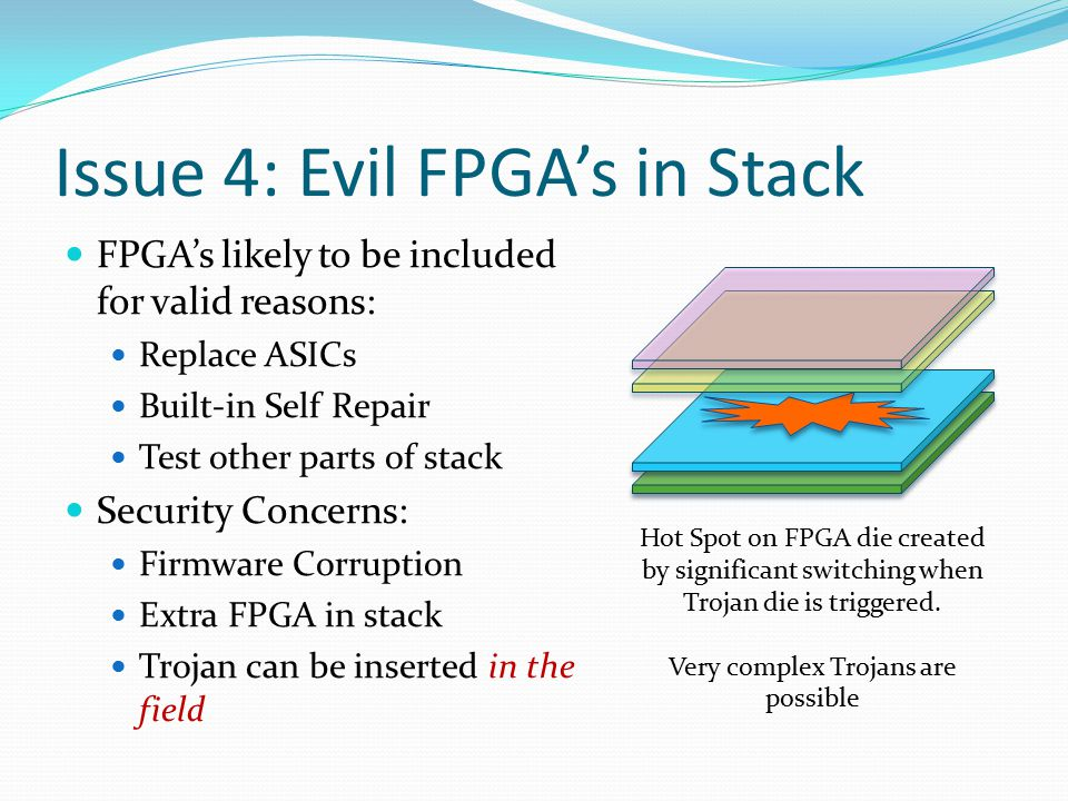 Issue 4: Evil FPGA's in Stack FPGA's likely to be included for valid reasons: Replace ASICs Built-in Self Repair Test other parts of stack Security Concerns: Firmware Corruption Extra FPGA in stack Trojan can be inserted in the field Hot Spot on FPGA die created by significant switching when Trojan die is triggered.