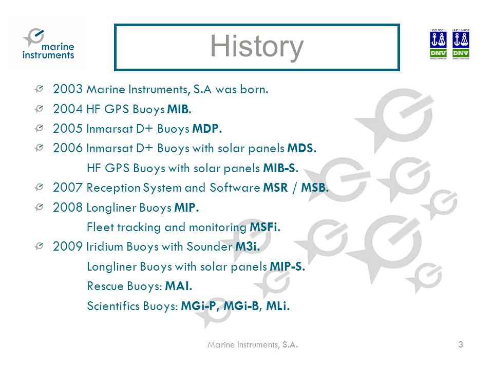 Marine Instruments, S.A.3 2003 Marine Instruments, S.A was born.