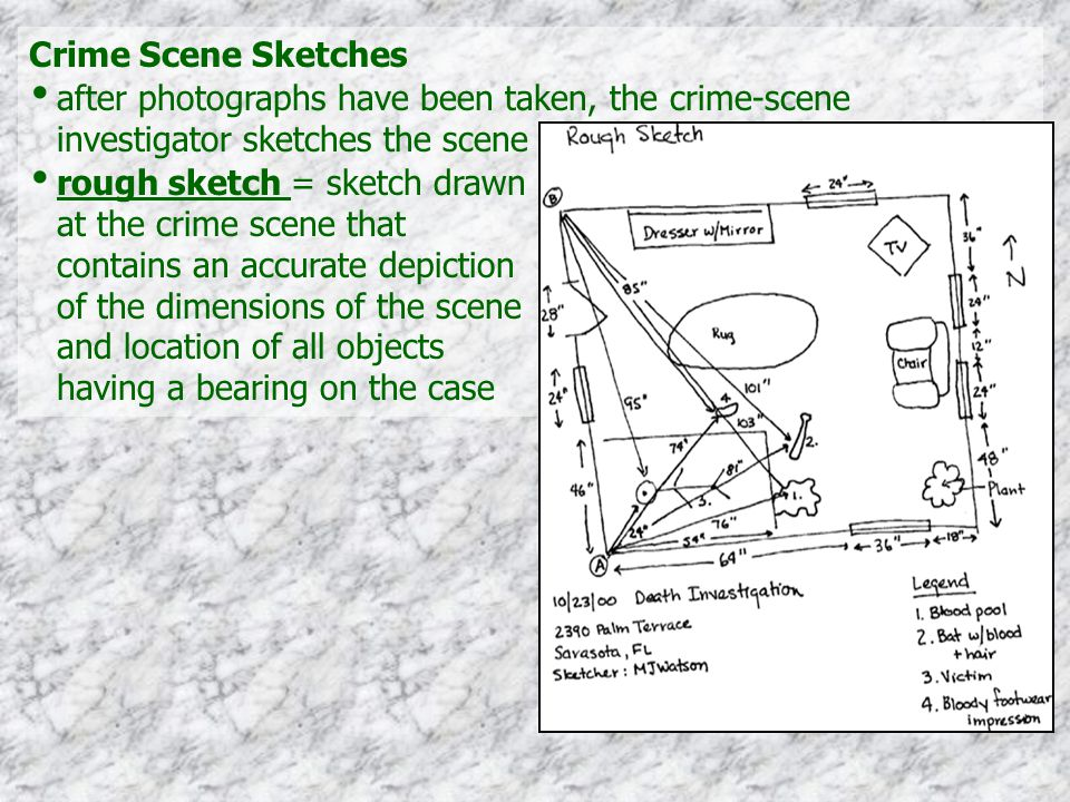 Crime Scene Sketches after photographs have been taken, the crime-scene investigator sketches the scene rough sketch = sketch drawn at the crime scene that contains an accurate depiction of the dimensions of the scene and location of all objects having a bearing on the case