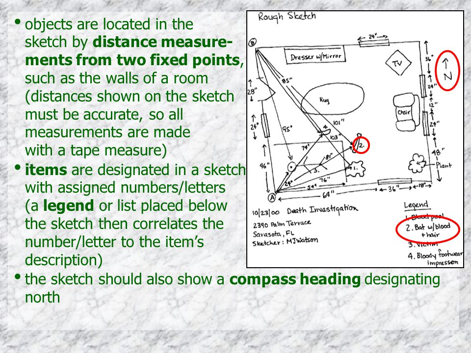 items are designated in a sketch with assigned numbers/letters (a legend or list placed below the sketch then correlates the number/letter to the item's description) the sketch should also show a compass heading designating north
